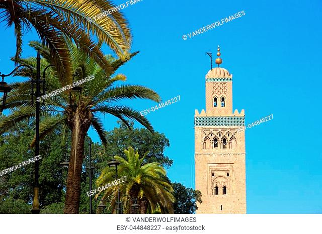 View on the Koutoubia mosque in Marrakesh, Morocco. The mosque is the largest in this city