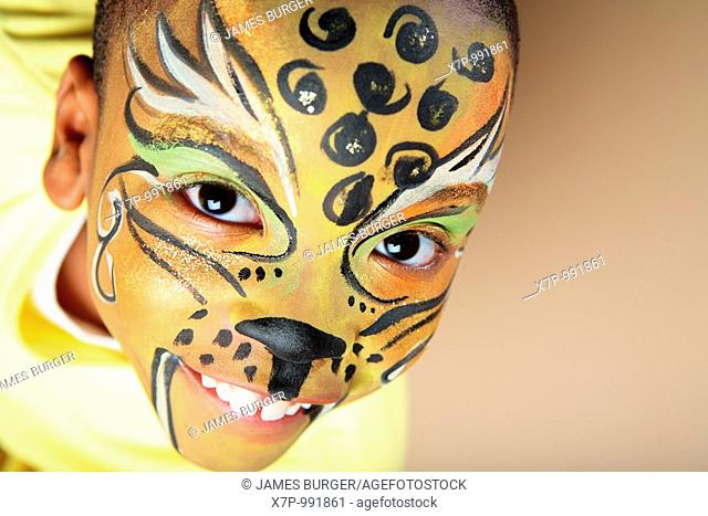 African American Boy with Face Paint
