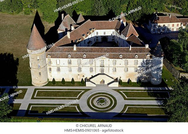France, Nievre, Parc Naturel Regional du Morvan (Morvan Regional Natural Park), Chateau de Bazoches, castle belonged to marshal Vauban (aerial view)