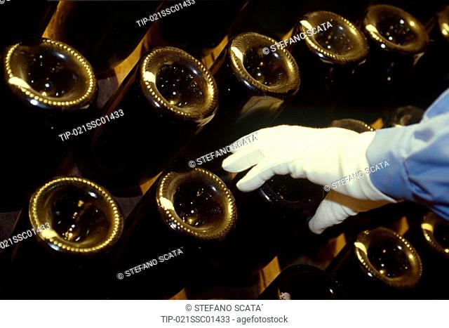 Europe, France, Champ Arden, the rackering in Champagne Pommery cellar