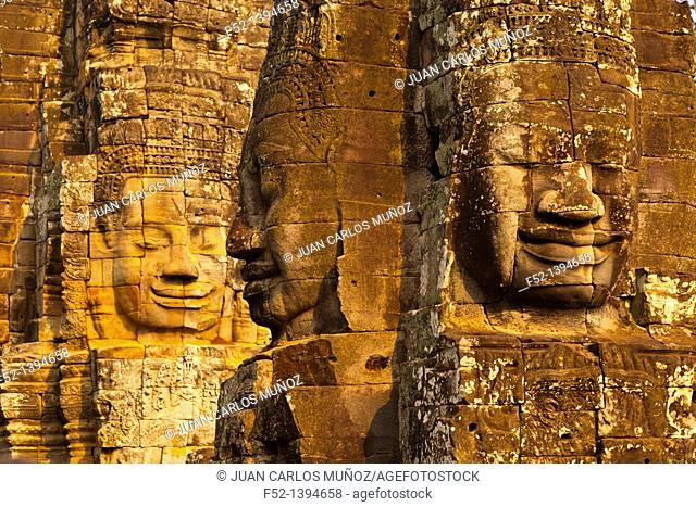 Face-towers  Upper terrace  Bayon Temple  Angkor Siem Reap town, Siem Reap province  Cambodia, Asia