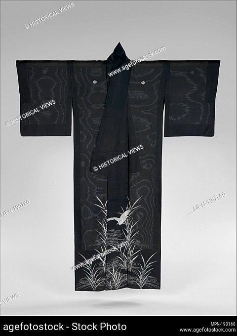 Summer Kimono with Sagi and Reeds. Period: Meiji period (1868-1912); Date: late 19th century; Culture: Japan; Medium: Resist-dyed, painted