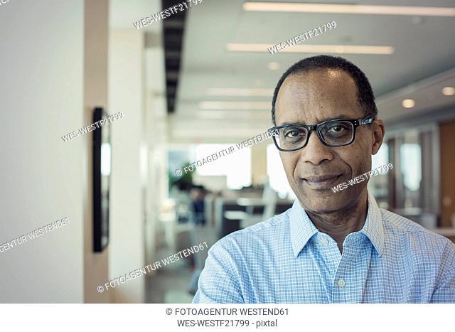 Afro American man in office, portrait
