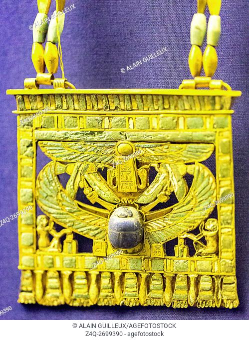 Egypt, Cairo, Egyptian Museum, jewellery found in the royal necropolis of Tanis, burial of Wendjebauendjed : Pectoral in the shape of a pylon