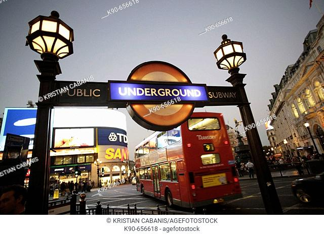 Entrance to the London tube (underground) and a public subway at Piccadilly Circus, London, United Kingdom, Europe
