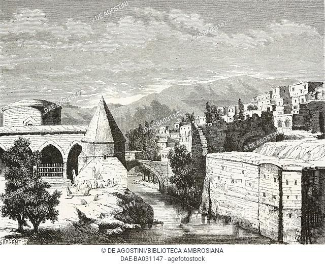 View of Bitlis, life drawing by Deyrolle, from Travels in Lazistan and in Armenia, 1869, by Theophile Deyrolle (1844-1923), from Il Giro del mondo (World Tour)