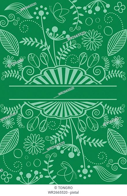 Line illustration of plants, flowers and butterflies against green