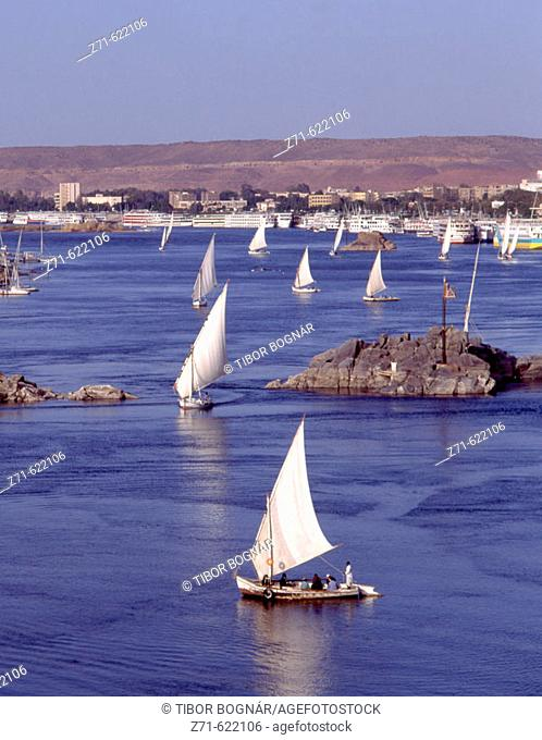 Felucca sailboats. Nile River, Aswan, Egypt