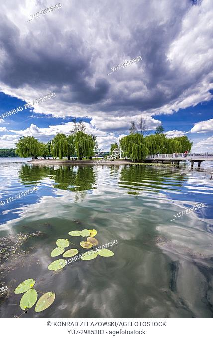 Ternopil Pond with so called Island of Love in Taras Shevchenko Park in Ternopil city, administrative center of the Ternopil Oblast, Ukraine