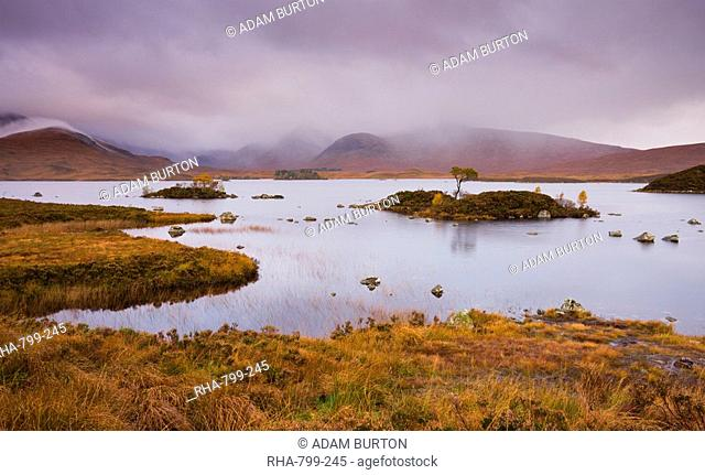Stormy skies over Lochan Na H-Achlaise on Rannoch Moor in autumn, Highlands, Scotland, United Kingdom, Europe