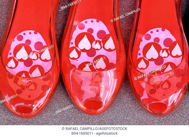 Red plastic shoes for sale