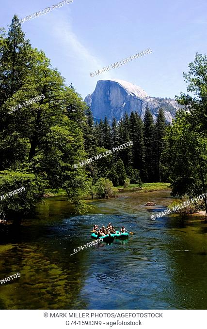 Merced River rafters and Half Dome Scenery Yosemite National Park, California, USA