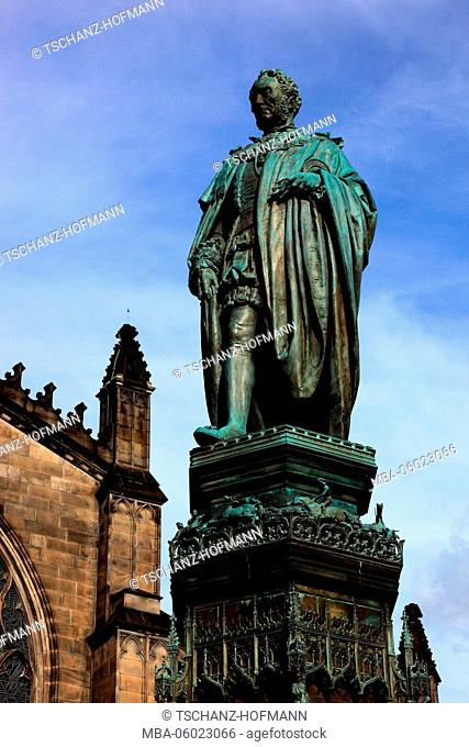 Scotland, Edinburgh, the statue of Walter Francis Montagu Douglas Scott, 5th Duke of Buccleuch, 7th Duke of Queensberry before St