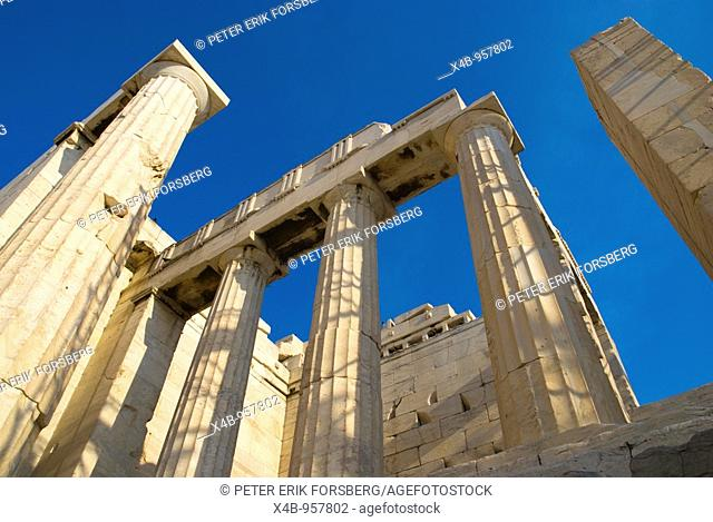 Structures at Beule Gate on Acropolis hill in Athens Greece Europe