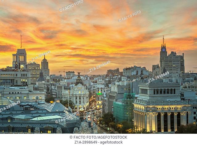 Madrid city center skyline. Madrid, Spain