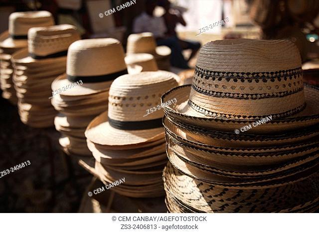 Straw hats on the market stall, Trinidad, Sancti Spiritu Province, Cuba, Central America