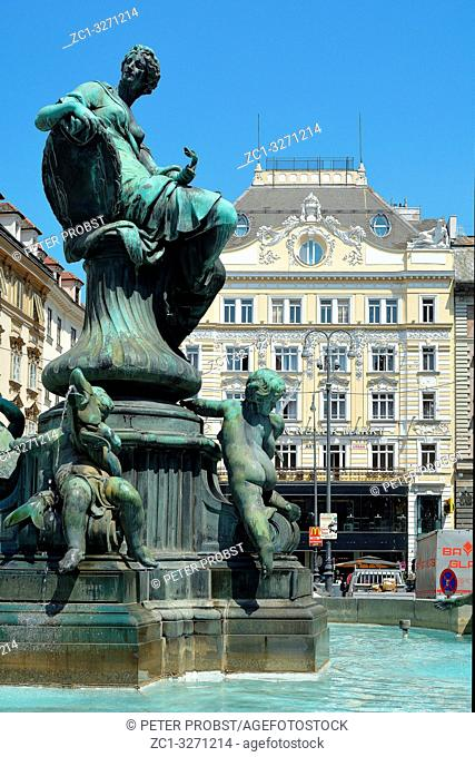 The Donnerbrunnen on the Neuer Markt in the Austrian capital Vienna - Austria