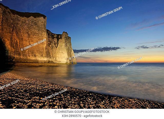 floodlit cliff, Etretat, Seine-Maritime department, Normandie region, France, Europe