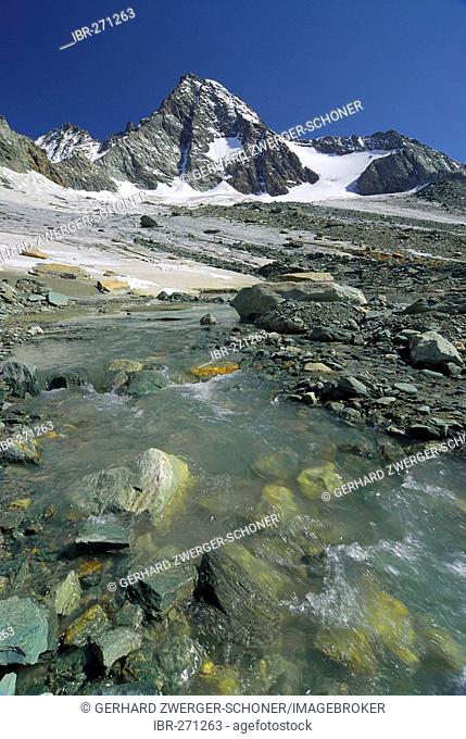 Mountain brook in front of the peak of the Grossglockner, National Park Hohe Tauern, Tyrol, Austria