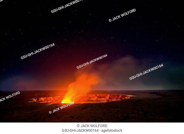 Glowing Lava at Dawn, Halemaumau Volcanic Crater, Kilauea Volcano, Volcanoes National Park, Hawaii, USA