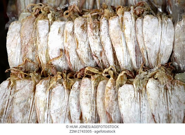 Dried squid hanging at a market stall, Haiphong, North Vietnam, Asia