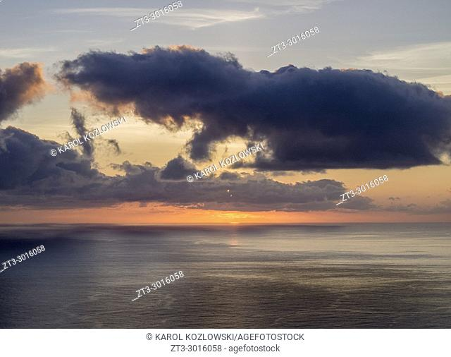 Sunset near Lajedo, Flores Island, Azores, Portugal