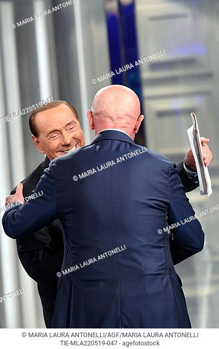 Leader of Forza Italia party Silvio Berlusconi, the football coach Arrigo Sacchi during the tv show Porta a porta, Rome, ITALY-21-05-2019