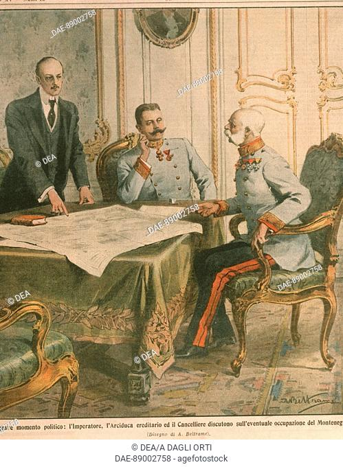 History, 20th century - Franz Joseph I, Emperor of Austria discuss occupation of Montenegro. Cover illustration from La Domenica del Corriere