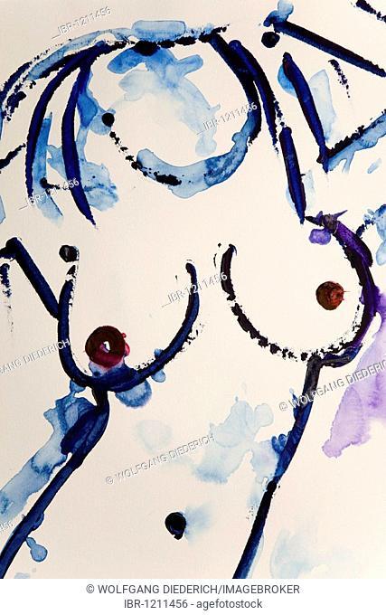 Blue nude painting, by the artist Gerhard Kraus, Kriftel, Germany