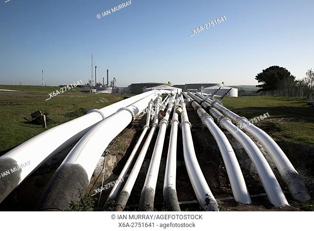 Pipelines leading to Amoco oil refinery Milford Haven, Pembrokeshire, Wales