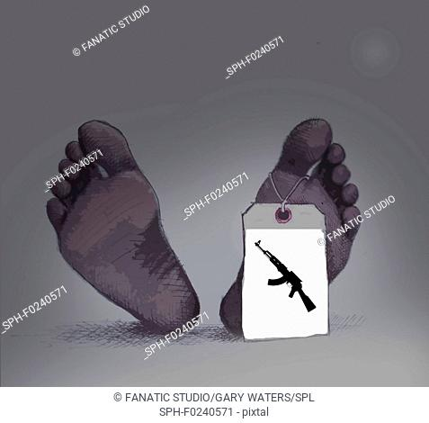 Conceptual illustration of a body with a tag showing guns as cause of death depicting the need for gun reform legislation