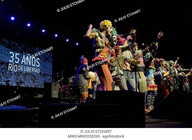 Traditional murga performing at the 35th Anniversary of Rio de Libertad (River of Freedom) rally in Montevideo, which was a turning point for the return to...