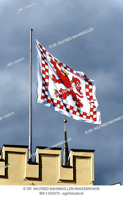 Flag of the town on the Brucktor, bridge gate, Wasserburg upon the river Inn, Upper Bavaria, Germany, Europe