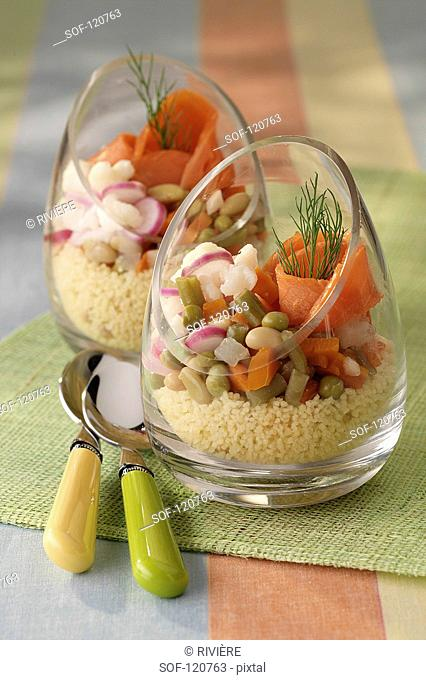 Verrine of fresh vegetables and smoked salmon