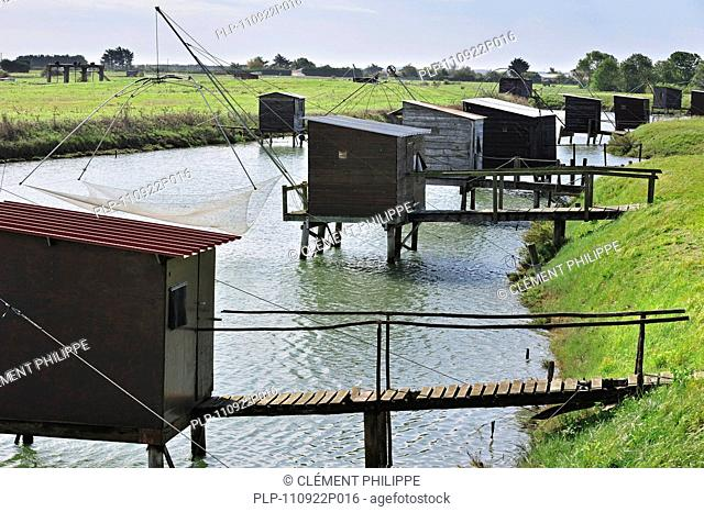 Traditional carrelet fishing huts at La Vendée, Pays de la Loire, France