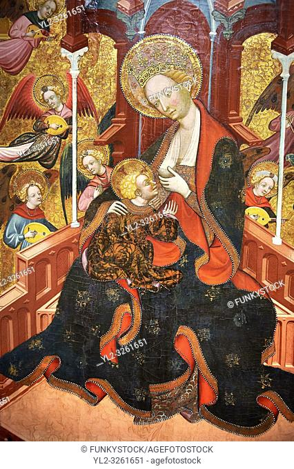 Gothic Altarpiece of the Madonna Nursing or Madonna Lactans, by Ramon de Mur, active around Tarrega and Montblanc circa 1412-1435