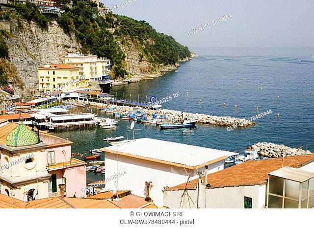 High angle view of a town, Church of St. Anna, Marina Grande, Capri, Sorrento, Sorrentine Peninsula, Naples Province, Campania, Italy
