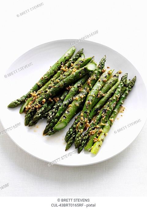 Close up of plate of asparagus