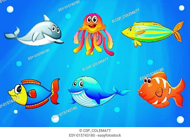Six smiling sea creatures under the deep sea
