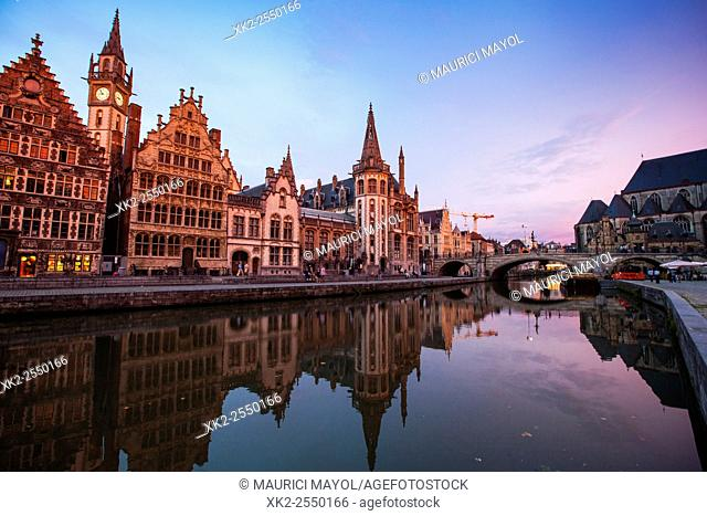 Graslei, Sint-Michielskerk and bridge at night, Ghent, Belgium