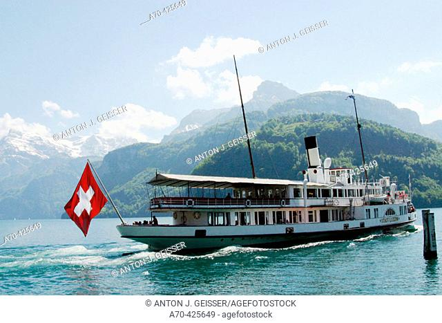Steamboat in Lake Lucerne. Central Switzerland