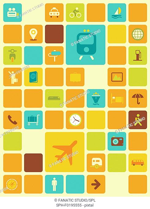 Illustration of travel icons over coloured background