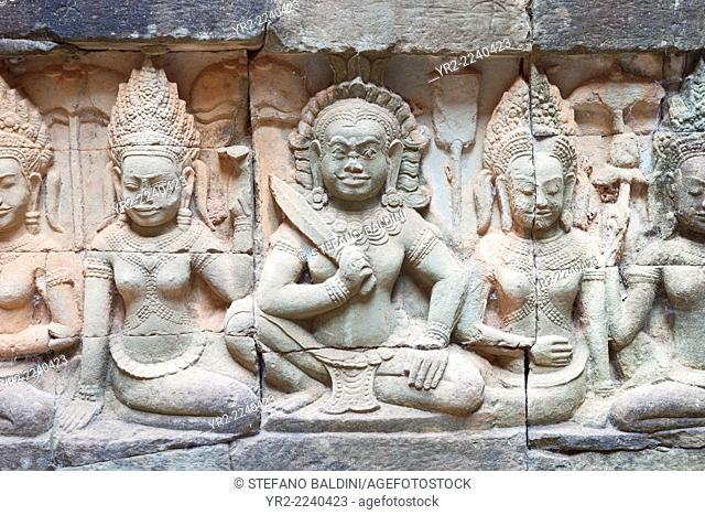 Bas-relief depicting a warrior on the hidden wall of the terrace of the elephants, Angkor Thom, Siem Reap, Cambodia