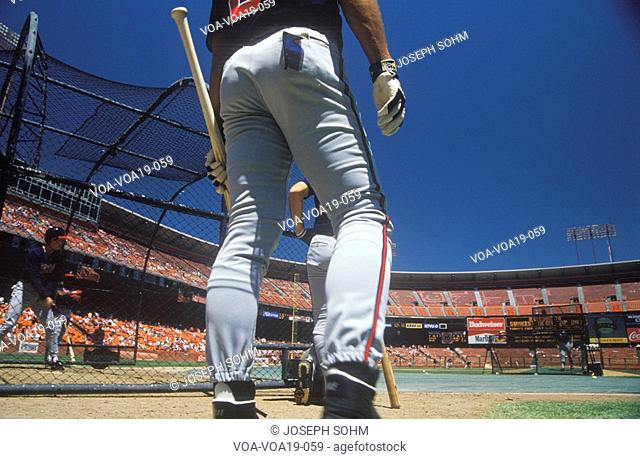 Professional Baseball players at batting practice, Candlestick Park, San Francisco, CA