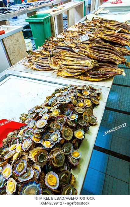 Limpets. Fish stall. Mercado dos lavradores (Farmers market). Funchal, Madeira, Portugal, Europe