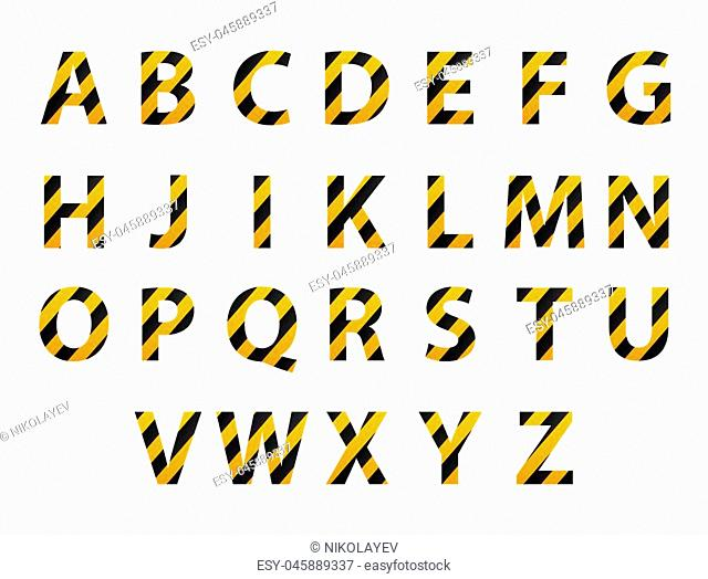 Vector alphabet. Set of striped letters in the form of protective tape. Repair of building hazard design. Vector illustration