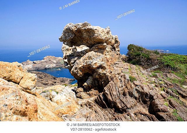 Pegmatite dikes in schists rocks in Cap Creus, Girona, Catalonia, Spain