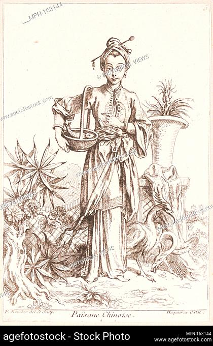 Chinese Peasant. Artist: François Boucher (French, Paris 1703-1770 Paris); Publisher: Chez Huquier (French, 18th century); Date: 1738-45; Medium: Etching;...