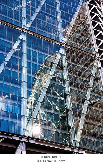 The Gherkin reflected in Leadenhall Building, London, England