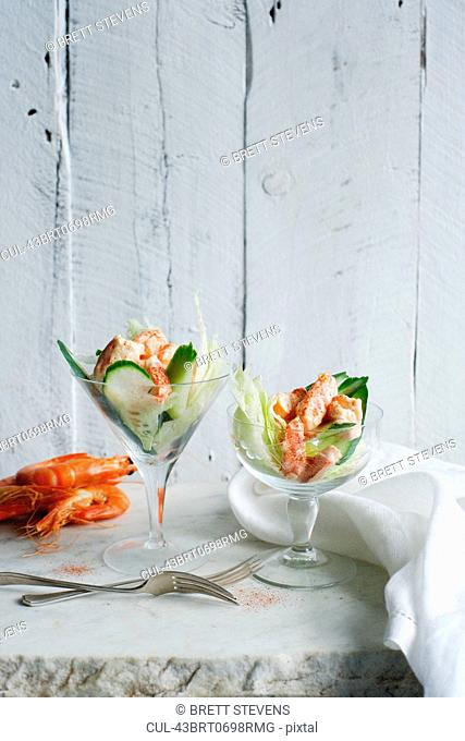 Prawn cocktail in glasses